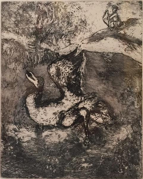 "Artwork: Marc Chagall | ""L'Archer et l'Ole"" from The Fables of La Fontaine Vol. II"